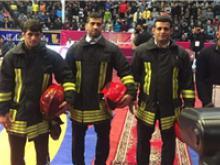 برترین کشتیگیران سال ایران با لباس آتشنشانان فداکار