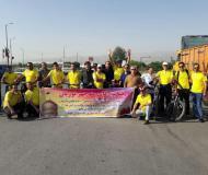 استقبال از دوچرخه سوار مستعد همدانی که مسیر همدان -مشهد مقدس را طی نمود / تصاویر
